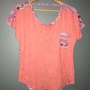 Coral Blouse with Floral Back.